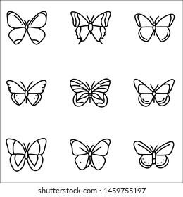 Set of cute butterflies. Vector cartoon illustrations.