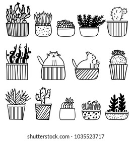 Set of cute cacti in the flower pots + funny cats in the flower pots. Vector illustration.
