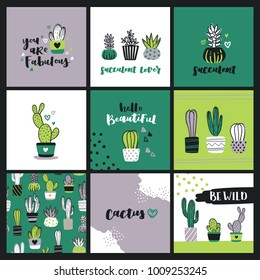 Set of cute cactus lover greeting cards. Collection of templates with succulents in flower pots, heart-shaped cacti and hand lettering phrases.