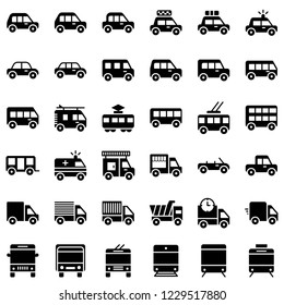 set of cute car truck lorry train icon set solid or silhouette design.
