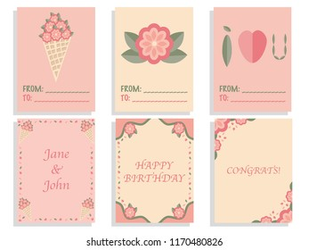Set of cute card templates with flat floral design and text samples.
