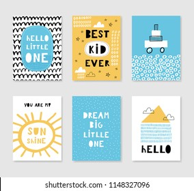 Set of cute card templates. Hand drawn graphic for typography poster, card, label, brochure, flyer, page, banner, baby wear, nursery. Vector illustration in blue and yellow.