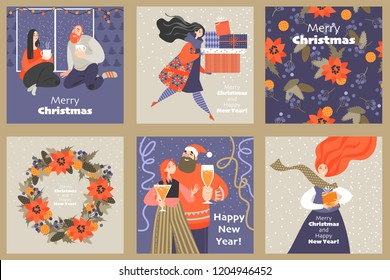 Set of cute cards for Christmas and New Year with funny characters in cartoon style