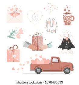 Set of cute cards for Valentine Day. Red pickup truck with hearts, gifts, flowers, love envelope, volcano lover, and hearts constellation. Stickers for a Saint Valentine Day. Vector collection.