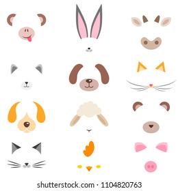 set of cute cartoon animal masks
