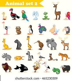 Set with cute cartoon animals