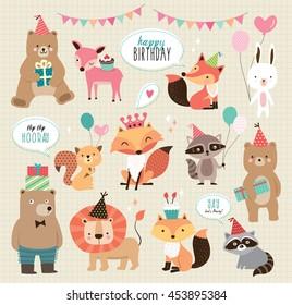Set of cute cartoon animals for birthday card design
