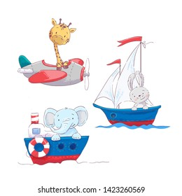 Set of cute cartoon animals giraffe hare and elephant on a sea and air transport, a sailboat plane and a steamship for a child's illustration.