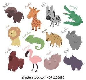 Set of cute cartoon animals isolated on white background. Vector illustration for zoo. Wild savannah baby animal icon. Lion, buffalo, flamingo, hippo, rhino, elephant gorilla giraffe african character