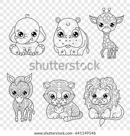 Set Cute Cartoon Animals Kawaii Style Image Vectorielle De Stock