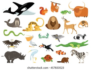 Set of cute cartoon animals, snakes, birds, fishes inhabiting planet earth. Vector eps 10 format