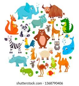 Set of cute cartoon animals. Vector illustration.