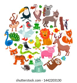 Set of cute cartoon animals. Vector illustration.