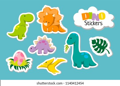 Set of cute cartoon baby dinosaur icon set - tyrannosaurus, triceratops, pterodactylus, stegosaurus, diplodocus, egg, monstera leaf. For logo, poster, banner. For historic event, dino party invitation