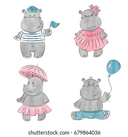 Set of cute cartoon baby Hippo. Vector watercolor illustration.
