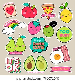 Set of cute cartoon badges, fun food character vector, girl fashion patches.