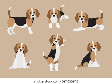 Set of cute cartoon Beagle in modern flat style. Animal character design isolate background.