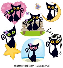 Set of Cute Cartoon Black Cat on a white background