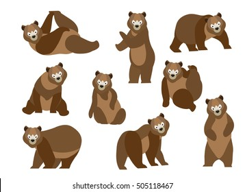 Set of cute cartoon brown bear in modern flat style. Animal character design isolate background.