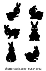 Set of cute cartoon bunny and rabbit silhouette isolated on white background