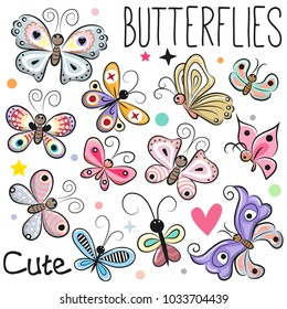 Set of Cute cartoon Butterflies isolated on a white background