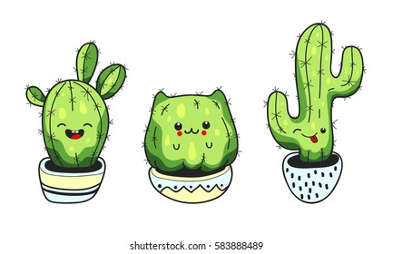 Set of cute cartoon cactus with funny kawaii faces in pots.  Vector illustration.