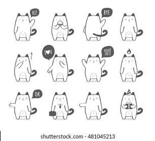 Set of a cute cartoon cat in various poses and with different emotions