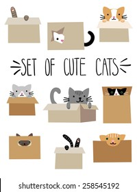 Set of cute cartoon cats in boxes