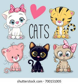 Image of: Download Set Of Cute Cartoon Cats On Blue Background Shutterstock Cartoon Cat Images Stock Photos Vectors Shutterstock