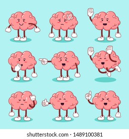 Set cute cartoon character brain. High quality vector. healthy biological organ. smile and happy brain. illustration design concept of Healthcare and Medical. - vector
