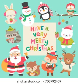 Set of cute cartoon character illustration for christmas and new year celebration