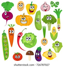 A set of cute cartoon character vegetables