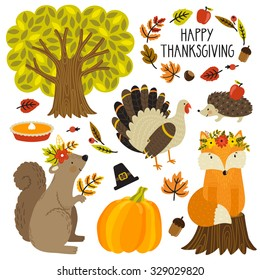Set of cute cartoon characters and plants. Thanksgiving day. Cute animals: fox, squirrel, hedgehog turkey and holiday symbols: pumpkin pie, pilgrim hat, pumpkin, autumn leaves and tree.