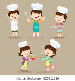 Set OF Cute Cartoon Characters Preparing Meal. little chef various actions.