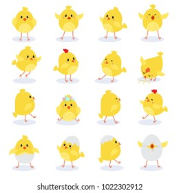 Set of cute cartoon chickens for easter design. Vector illustration
