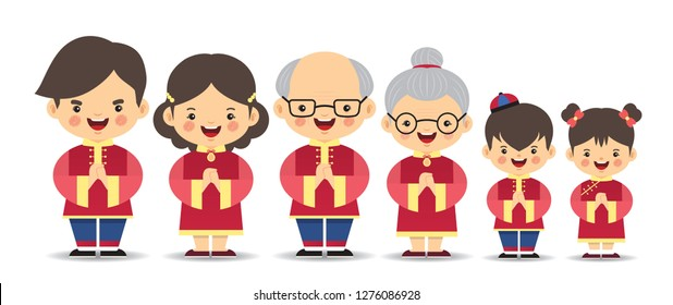 Set of cute cartoon chinese family isolated on white background. Chinese new year character in flat vector design. Father, mother, grandfather, grandmother, brother & sister.