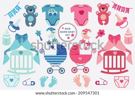 27a6a81c749a A set of cute cartoon cliparts for newborn baby boy and girl.Baby cartoon  icons
