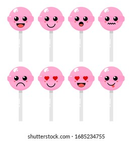 Set of cute cartoon colorful lollipop candy with different emotions. Funny emotions character collection for kids. Fantasy characters. Vector illustrations, cartoon flat style