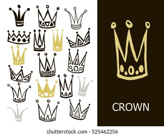 Set of cute cartoon crowns. Hand drawing vector background. Graphic black and gold image on white background. Vector illustration.