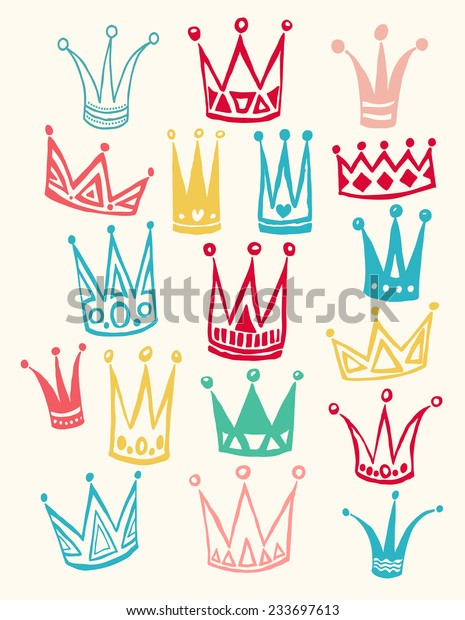 Set Cute Cartoon Crowns Hand Drawing Stock Vector Royalty Free 233697613 Polish your personal project or design with these cartoon crown transparent png images, make it even more personalized and more attractive. https www shutterstock com image vector set cute cartoon crowns hand drawing 233697613