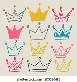 Set of cute cartoon crowns. Pastel background.  Bright colors. Vector illustration.