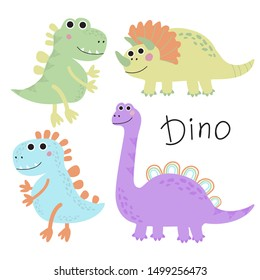 Set of cute cartoon dinosaurs. Vector illustration for printing on fabric, Wallpaper, dishes, postcard, picture, bedding, children's products.