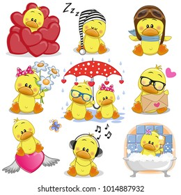Set of Cute Cartoon Ducks on a white background