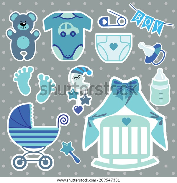 Set Cute Cartoon Elements Newborn Baby Stock Vector Royalty Free 209547331