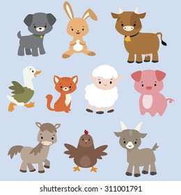 A set of cute cartoon farm animals