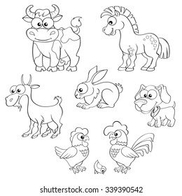Set of cute cartoon farm animals. Horse, cow, goat, rabbit, dog, hen, cock and chick. Black and white vector illustration for coloring book