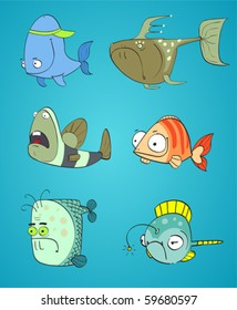 set of cute cartoon fishes