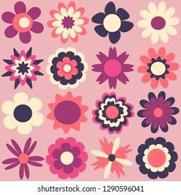 Set of cute cartoon flowers, vector