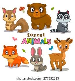 Set of cute cartoon forest animals, childish vector illustration