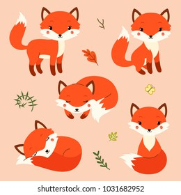 Set of cute cartoon foxes in modern simple flat style. Vector illustration.